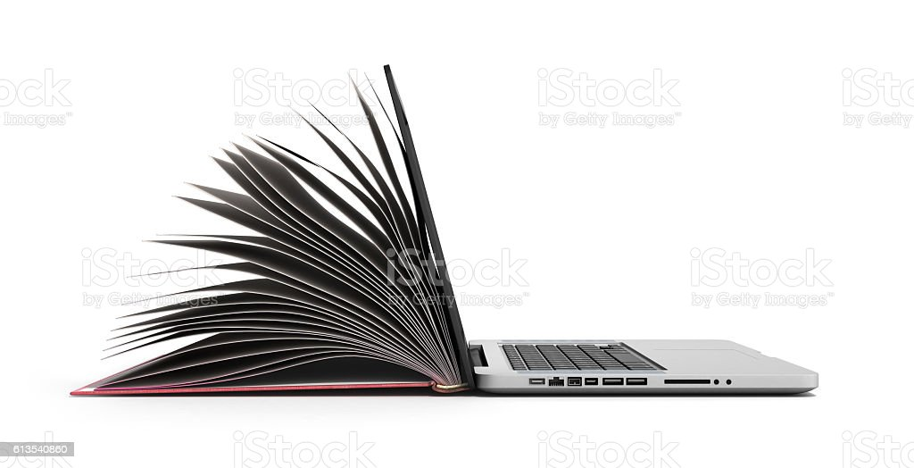 creative E-learning Concept Book and Laptop stock photo