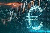 istock Creative euro icon with glowing stock chart 1252424572