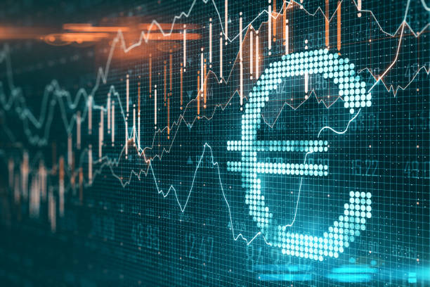 Creative euro icon with glowing stock chart Creative euro icon with glowing stock chart on dark wallpaper. Cryptocurrency and money concept. 3D Rendering european union currency stock pictures, royalty-free photos & images