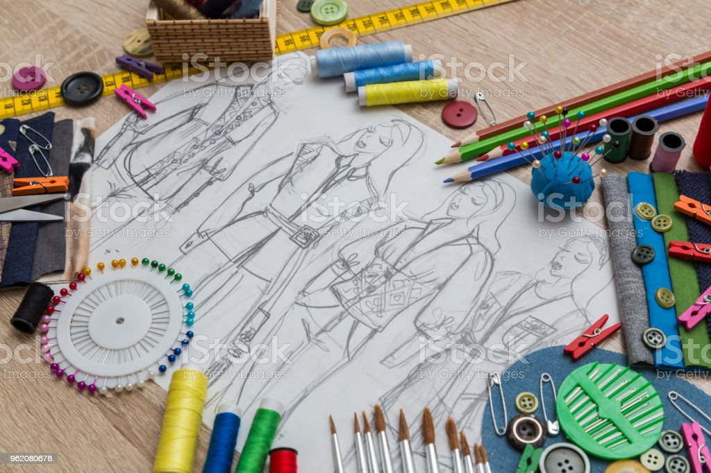Creative Fashion Design Desk With Sketch And Accessories Stock Photo Download Image Now Istock