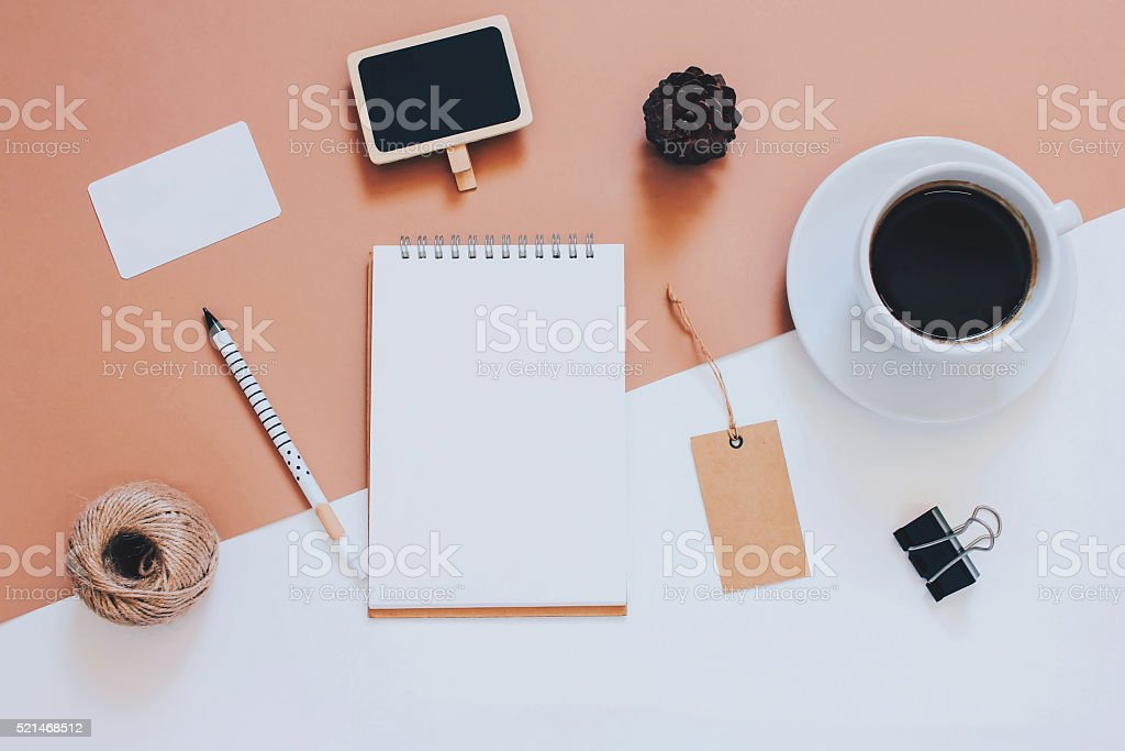 Creative flat lay photo of workspace desk stock photo