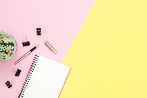 kreative flach legen foto des arbeitsbereichs schreibtisch. draufsicht schreibtisch mit offenen mock-up notebooks und bleistift und pflanze auf rosa pastell gelb hintergrund. draufsicht mit textfreiraum, fotografie flach zu legen. - unterrichtsplanung vorlagen stock-fotos und bilder