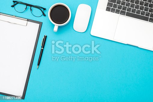Creative flat lay photo of workspace desk with copy space. Top view office desk with laptop