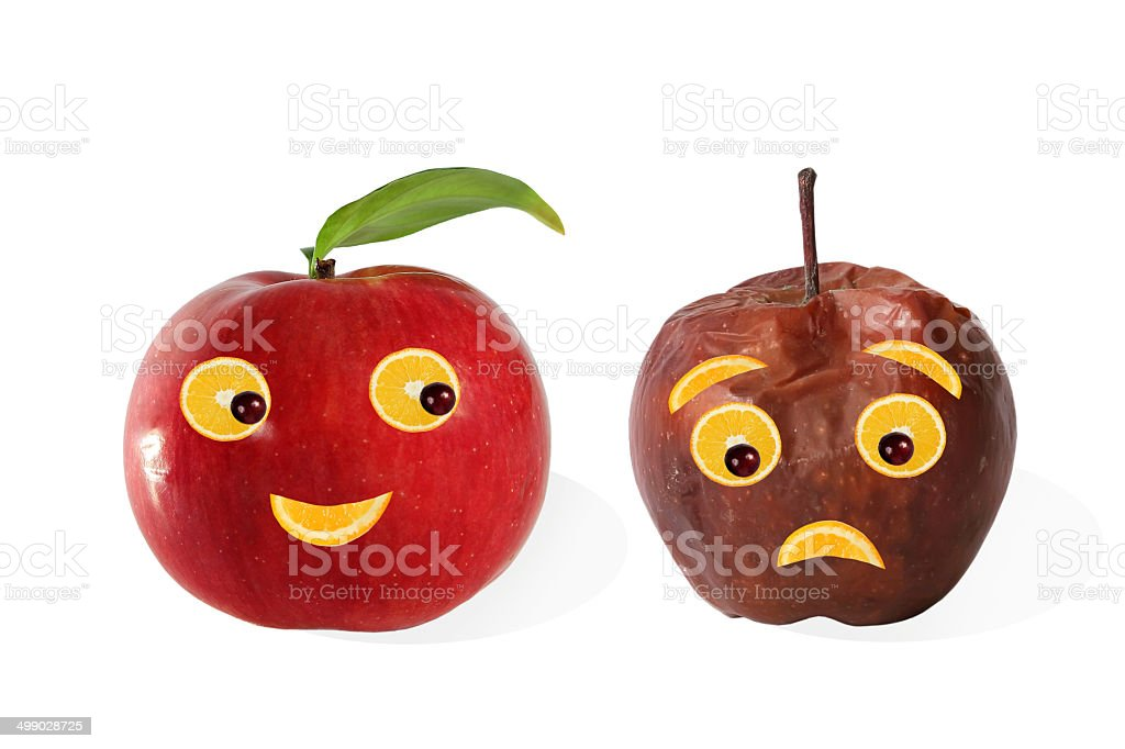 Creative food. Positive and negative portraits made from apple stock photo