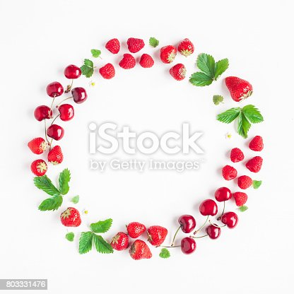 670420880istockphoto Creative frame made of fresh fruits. Flat lay, top view 803331476