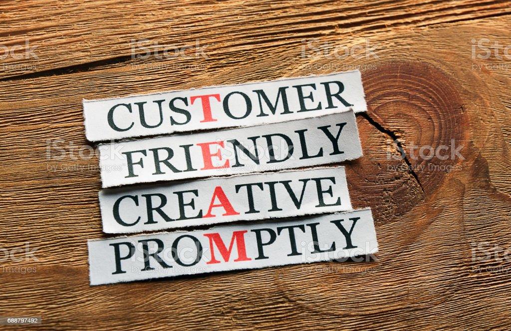 creative friendly  team acronym stock photo