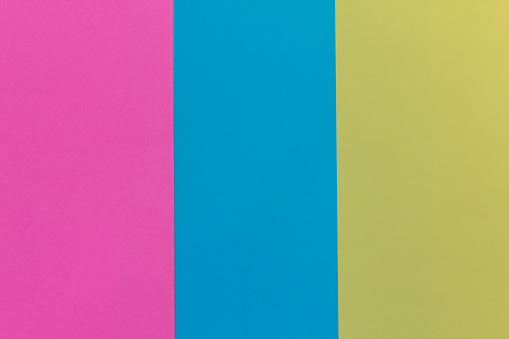 Creative Geometric Paper Background Pink Blue Yellow Colors Abstraction Template Stock Photo - Download Image Now