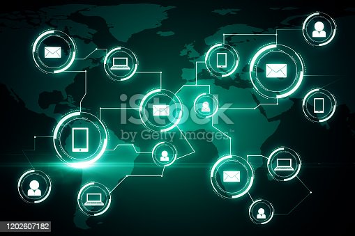 1177116437 istock photo Creative green social media network interface 1202607182