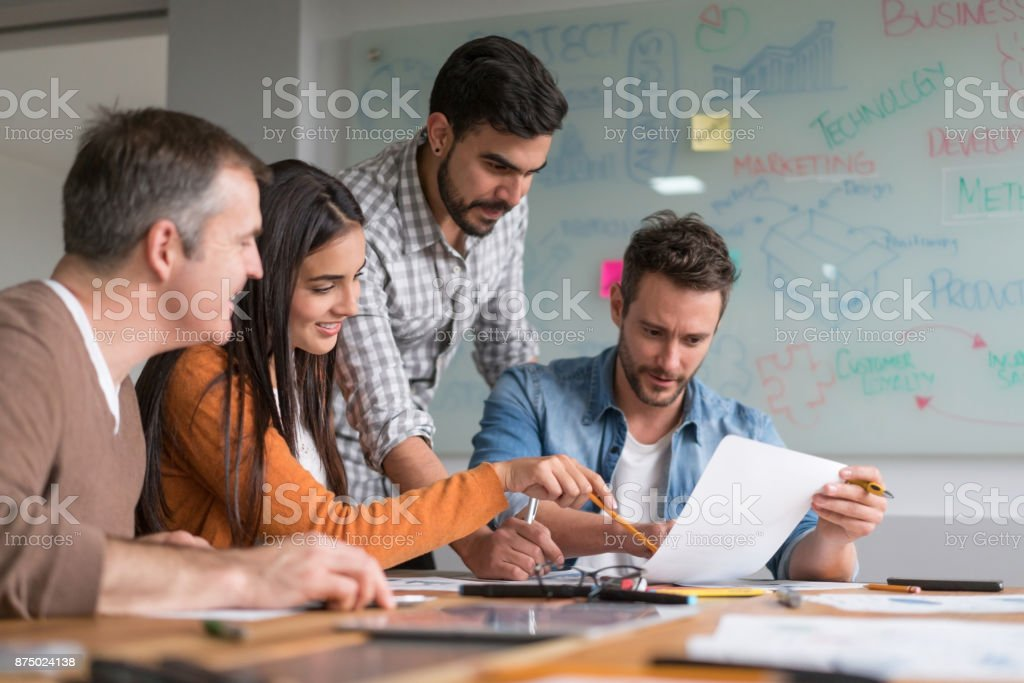 Creative group of people in a business meeting stock photo