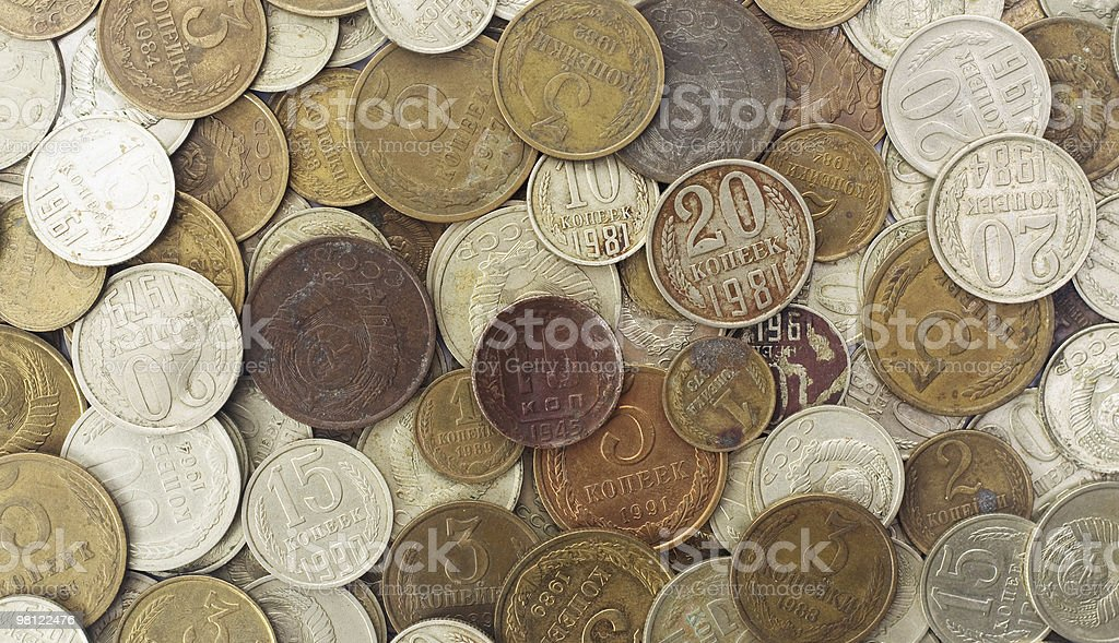 Creative grunge background of aged USSR money royalty-free stock photo