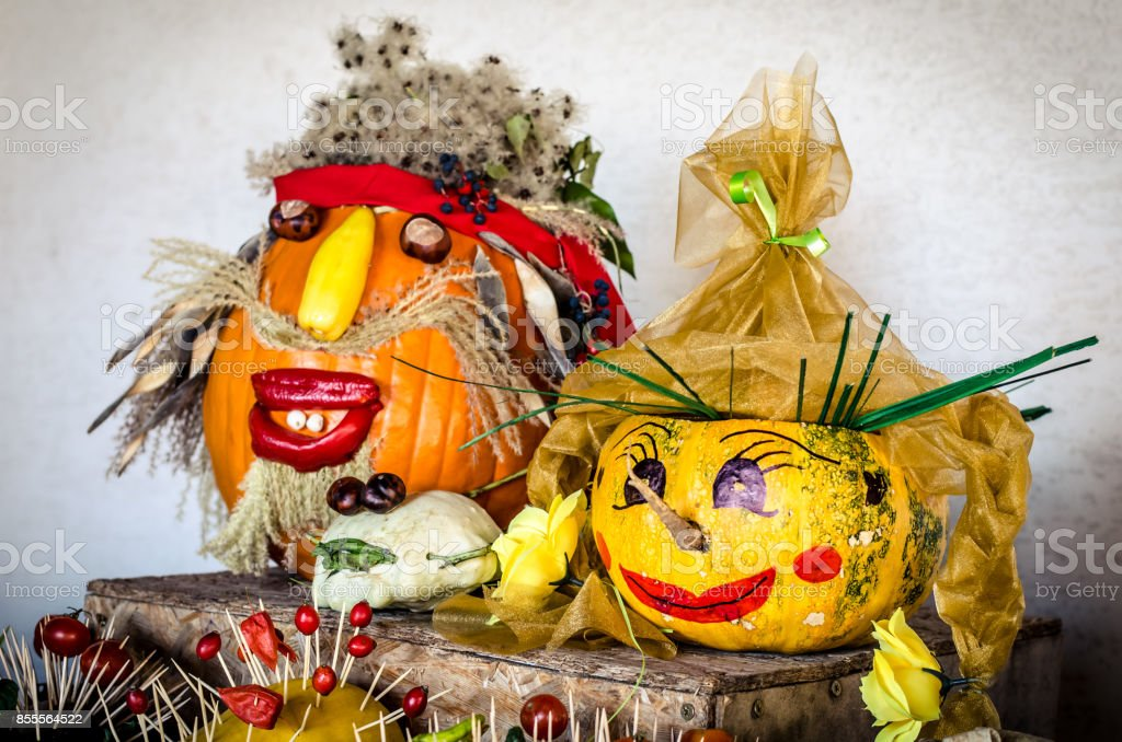 creative halloween pumpkins stock photo