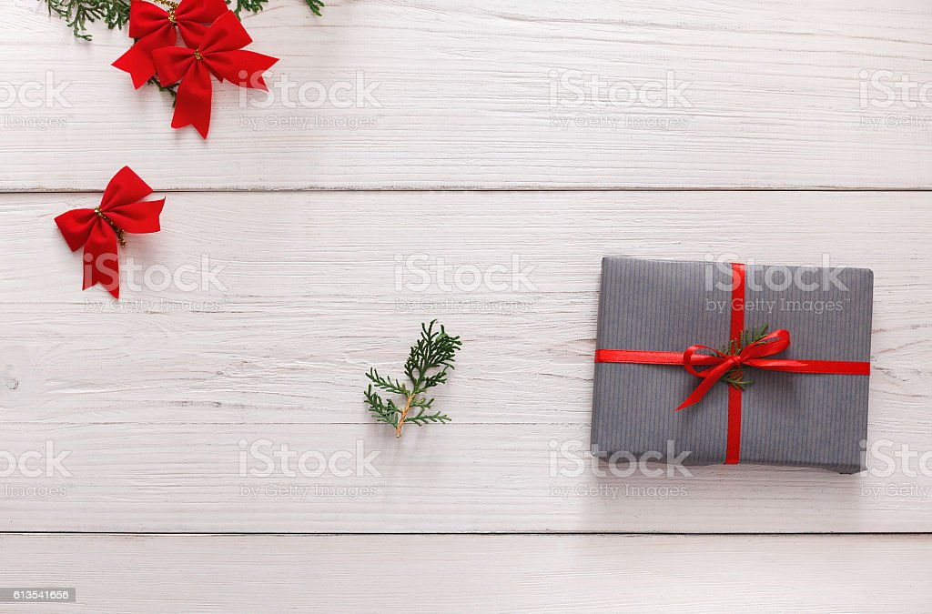 Creative hobby. Making christmas present in box, top view stock photo