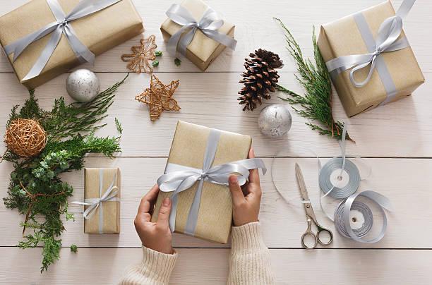 Creative hobby. Making modern handmade christmas present box stock photo