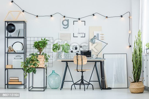 istock Creative home office with plants 860113164
