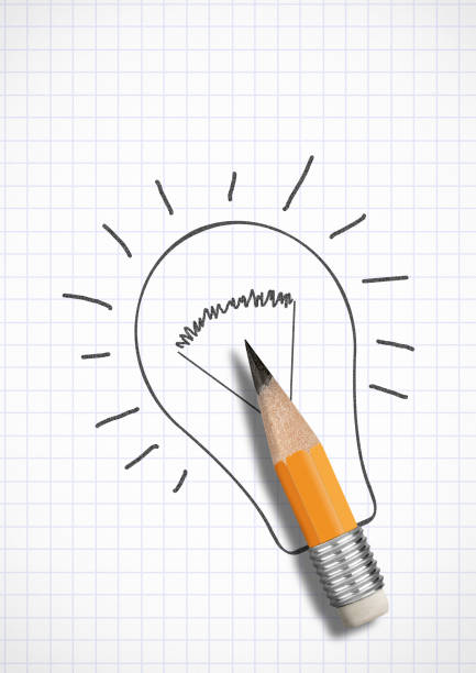 Creative idea concept, pencil with drawn bulb stock photo