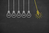 istock Creative idea concept with light bulbs 943963798