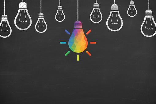 Creative idea concepts with light bulbs on a blackboard background