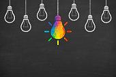 istock Creative idea concepts with light bulbs on a blackboard 1133439429