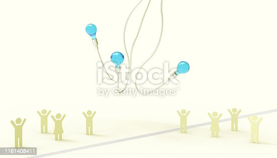 1007383644istockphoto Creative idea Energy saving Light Bulbs and People Symbol Concept Inspiration art style and modern Yellow paste Cloud background - 3D rendering 1161408411