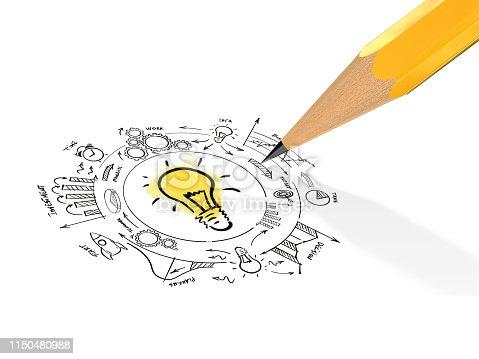 Creative idea innovation business plan light bulb