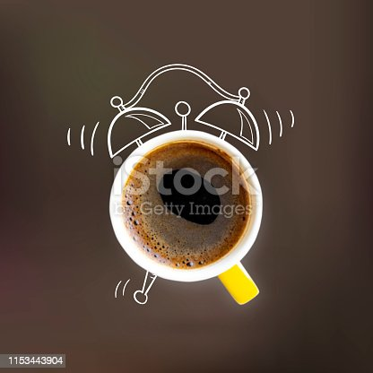 istock Creative idea layout coffe cup alarm clock 1153443904