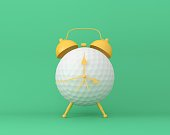 Creative idea layout Golf alarm clock on pastel green background. minimal idea sport concept. Idea creative to produce work within an advertising marketing communications or artwork design.