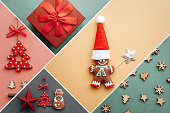 Creative idea various Christmas toys and things on multi-colored backgrounds.