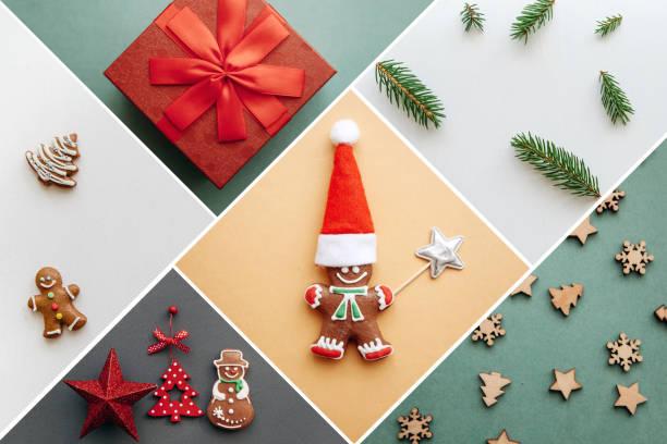 kreative idee verschiedene weihnachten spielzeug und dinge auf bunten hintergründen. - weihnachtsessen ideen stock-fotos und bilder