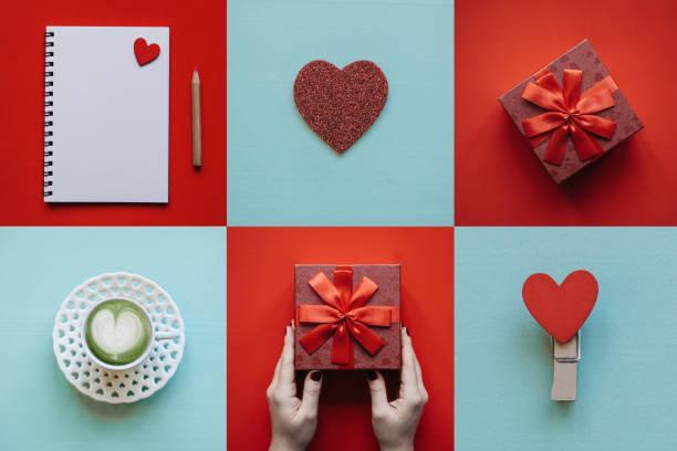 kreative idee valentinstag symbole - foto collage geschenk stock-fotos und bilder