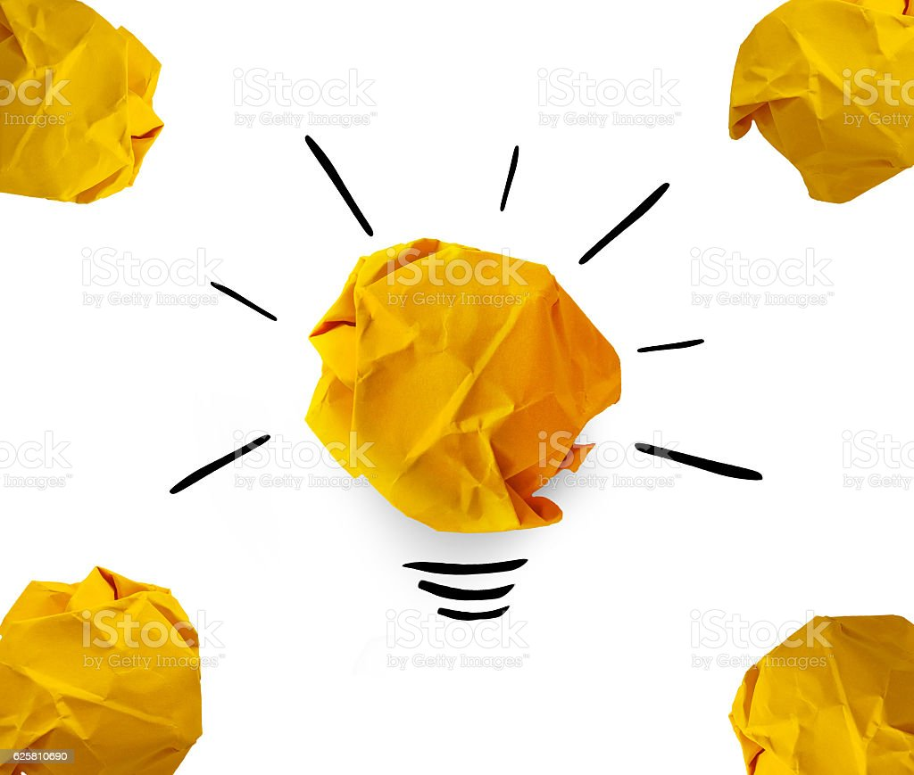 creative idea.Concept idea and innovation with paper on white background stock photo