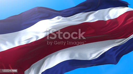 Costa Rica flag waving in wind Realistic Costa Rican background. Costa Rica background