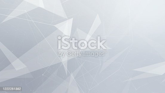 Abstract Futuristic Data Connections Polygonal Background, Technology Concept.