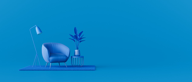 Creative interior design in blue studio with armchair. Minimal color concept