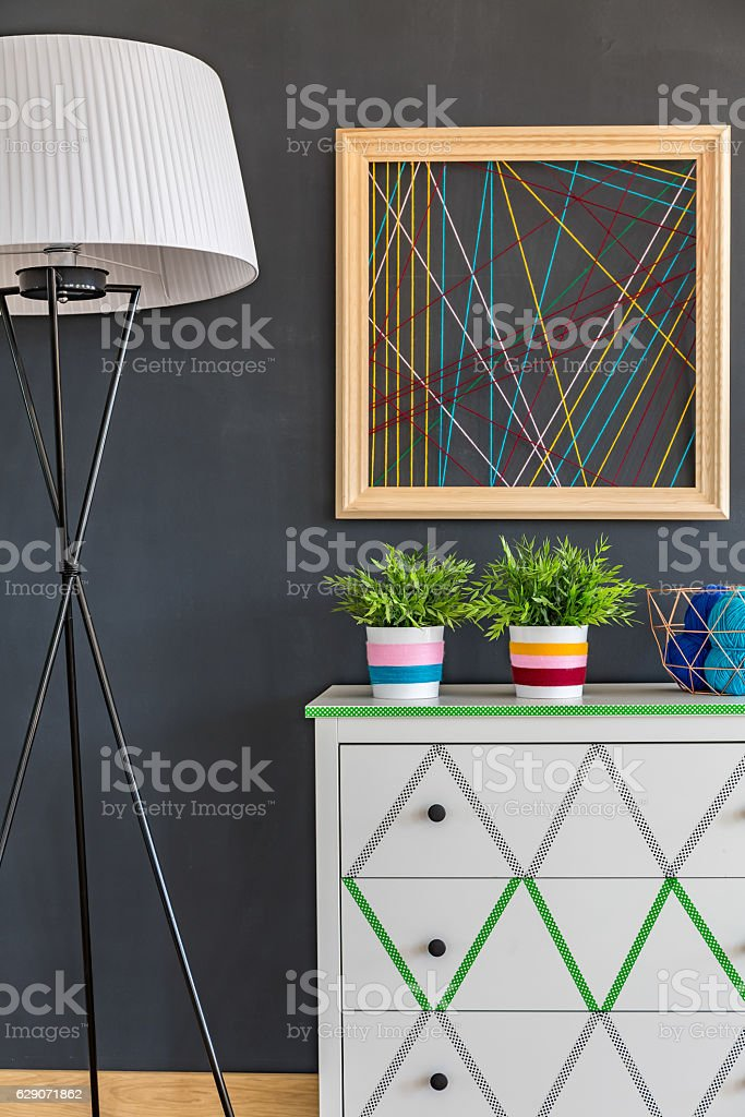 Creative interior with wool picture stock photo