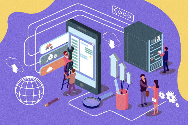 creative isometric bector illustration. app development content for web page, banner, social media, documents, cards, posters, news. noise texture - advertising isometric stock photos and pictures