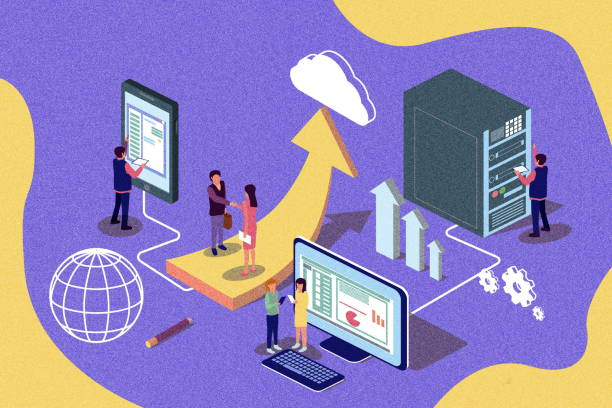 creative isometric retro illustration. cloud computing content for web page, banner, social media, documents, cards, posters, news. - advertising isometric stock photos and pictures