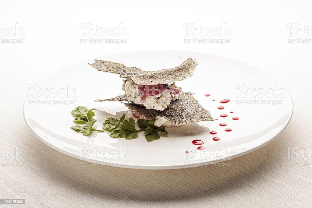 Creative Italian Cuisine: Creamy Cod Canape royalty-free stock photo