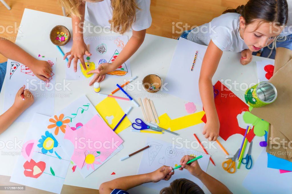 Creative kids. Creative Arts and Crafts Classes in After School Activities. - Royalty-free Adult Stock Photo