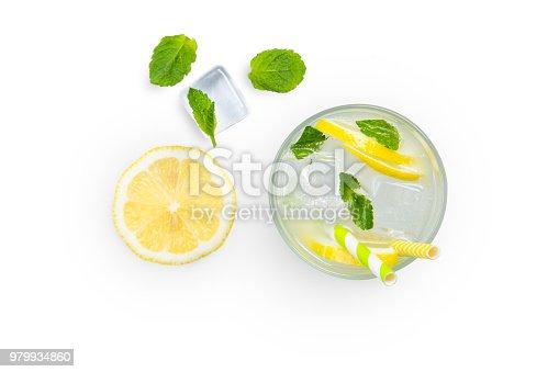 istock Creative layout - fresh lemonade and ingredients isolated 979934860