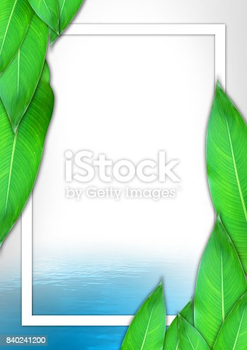 istock Creative layout, leaves and flower background, Nature concept, business brochure flyer template, poster, magazine advertisement 840241200