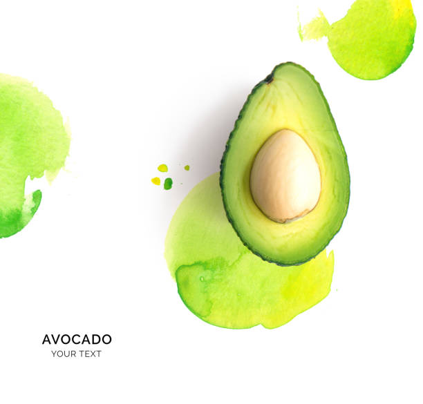 Creative layout made of avocado on the watercolor background. Flat lay. Food concept. stock photo