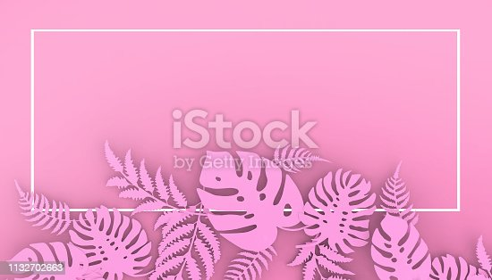 istock Creative layout made of flowers and leaves on Pastel Pink Background - 3d rendering / Cutting paperอ 1132702663