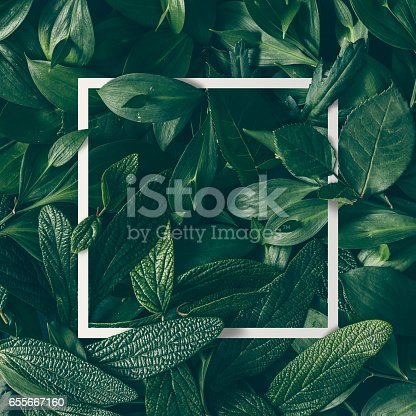 istock Creative layout made of flowers and leaves with paper card note. Flat lay. Nature concept 655667160