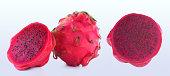 Creative layout made of fruits. Apple, orange, pear, dragonfruit on the white background.