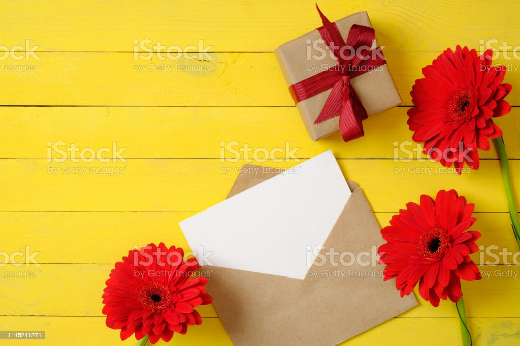 Creative Layout Made Of Vintage Paper Envelope With Blank Card Red