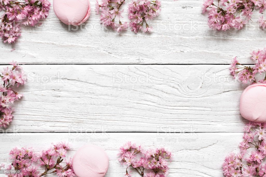 Creative Layout Made With Pink Cherry Blossom Flowers On White ...