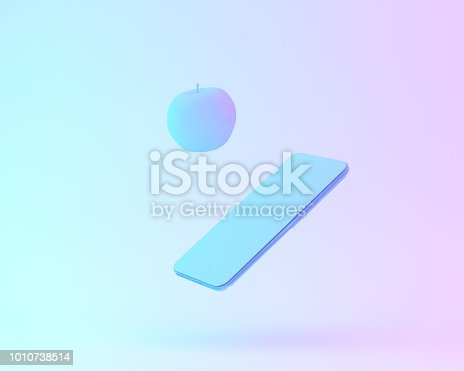 istock Creative layout of apple with smartphone painted in white and vibrant bold gradient purple and blue holographic color lights background. minimal office concept. surrealism art. 1010738514