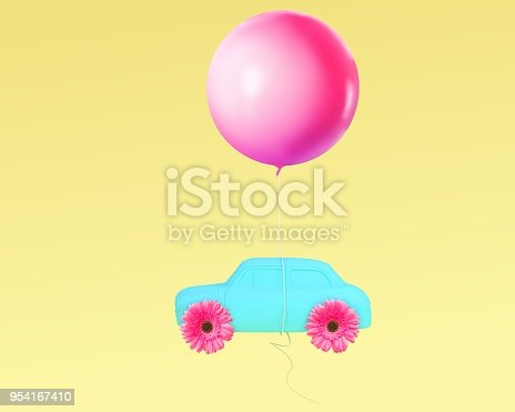 903520476 istock photo Creative layout pink flower wheel and car blue with pink balloon floating on yellow pastel background. minimal idea concept. 954167410