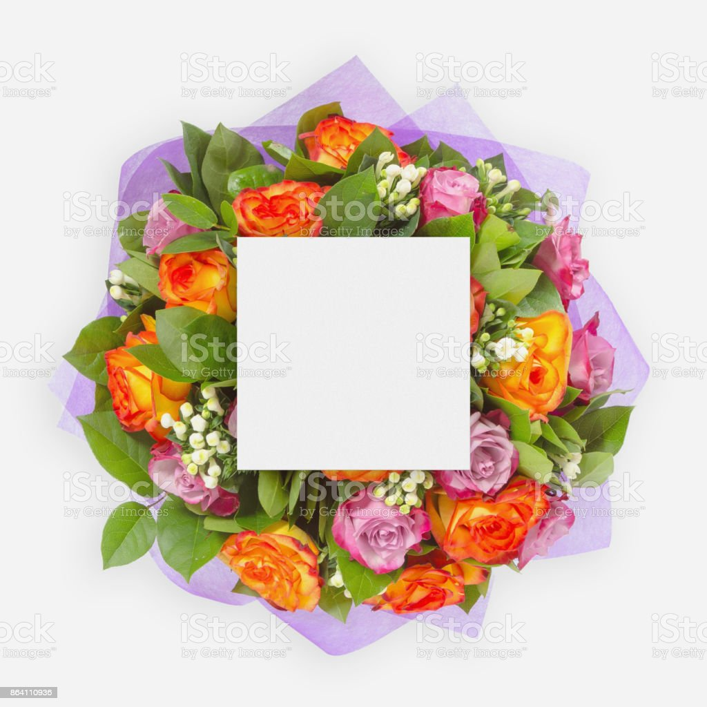 Creative layout with colorful flowers, leaves and copy space card note. Flat lay. royalty-free stock photo