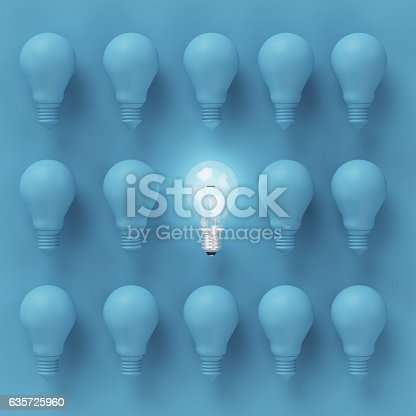 istock Creative light bulb Idea concept on blue background 635725960